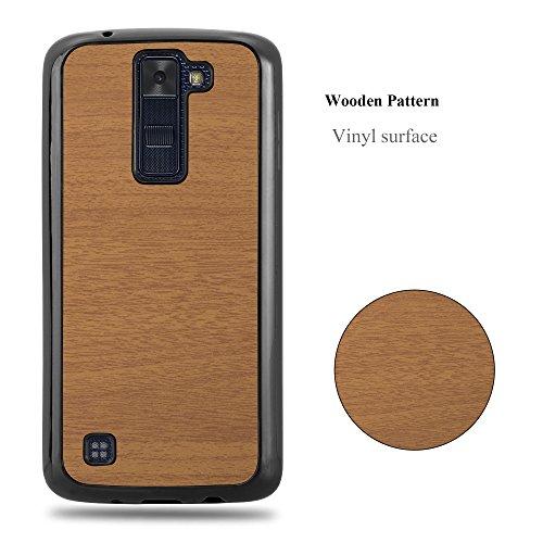 Cadorabo – Hard Cover Slim Case für >             LG K8 (Modell 2016)             < in Holz-Optik und Vintage Design - Case Cover Schutz-hülle Hard Case in WOODY-BRAUN WOODY-BRAUN