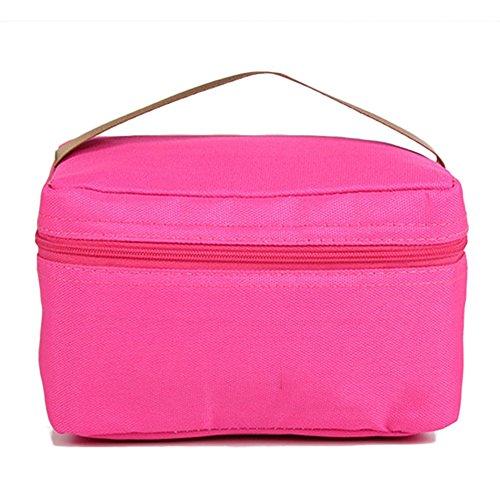 Tininna sacchetto pasto lunch bag borsa da pranzo guazzabuglio sacchetto freschezza impermeabile termico borsa porta-pranzo picnic banda portatile bag, rose rouge