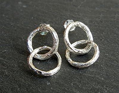 Boucles d'oreilles géométriques, cercles duo entrelacé, en argent massif 925