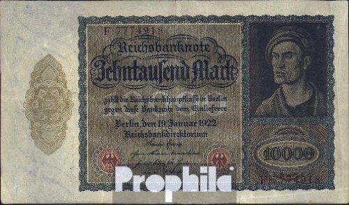 Deutsches Reich Rosenbg: 68a, mit Unterdruckbuchstabe gebraucht (III) 1922 10.000 Mark (Banknoten für Sammler)