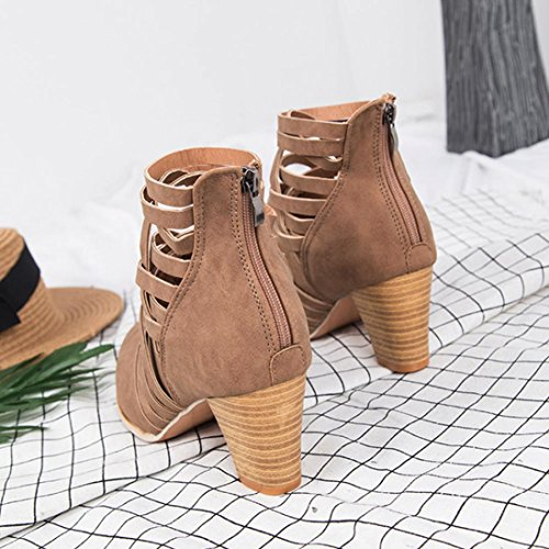 Women Boots Wedge heel, SOMESUN Signore delle donne Wedge Buckle motociclista caviglia Trim tacchi alti stivali con zip alla caviglia Shoes Brown