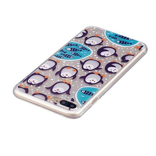 Coque iphone 7 Plus/iphone 8 Plus, Coque iphone 7 Plus/iphone 8 Plus Transparente, Cozy Hut Housse Etui TPU Silicone Clear Clair Transparente Gel Slim Case pour iphone 7 Plus/iphone 8 Plus Soft de Pro Pingouins arctiques
