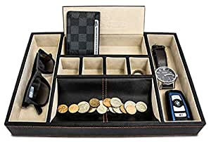BEST MENS VALET TRAY ORGANIZER FOR DRESSER TOP, Dapper Effects Brand Deluxe leather storage box, beautifully accented stitching with efficient compartments for hassle free organization! by Dapper Effects