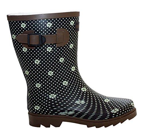 A&H Footwear  Katrina,  Mädchen Damen Arbeits-Gummistiefel Black/Brown Spots