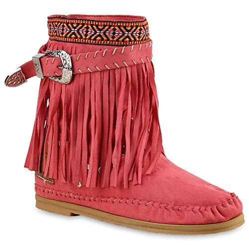 Damen Ethno Stiefel Fransen Stiefeletten Nieten Schlupfstiefel Mokassins Schnallen Damen Festival Boots Schuhe 136268 Pink 38 | (Festival Kostüm Design)