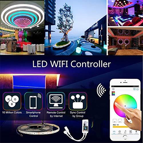Tira de luz LED de Wifi, WiFi Teléfono inteligente inalámbrico Tira de luz controlada Kit 5050 Luces LED IP65 a prueba de agua, Trabajando con voz inteligente Soporte de voz asistente,5m