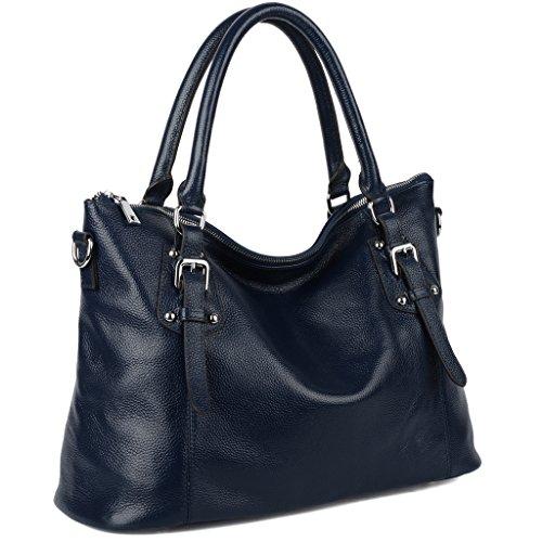 Imagen de yaluxe mujer estilo clasico cuero genuino suave  pequeña saco de mano grande bolsa de hombro azul alternativa