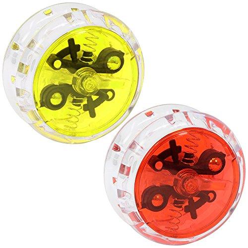 com-four® 2 Yo-Yos mit Kupplung und Kugellager, Yo-Yo in rot und gelb (02 Stück - Mix 1)