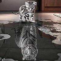 """WDARTS Taladro Completo Punto de Cruz Diamante Gato Quiere Ser un Tigre Kit Completo 5d Pintura de Diamantes Kit La Decoración de La Pared del Hogar,30 x 30cm(11.8""""x11.8"""")"""