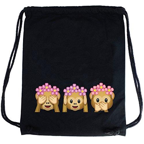 Imagen de premyo bolsa de cuerdas negra 100% algodón con emoji tres monos.  con cuerdas con impresión emoticon see hear speak no evil de alta calidad. gymsac con cordón saco de gimnasio ideal para viajar