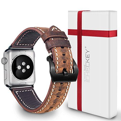 Apple watch Uhrenarmband 42mm, ICHECHEY Ersatzarmband klassisches, Gürtelschnalle Lederarmband, Handgelenk Verschluss aus Edelstahl für Apple Watch Series 1/Series 2/ series 3-(Dunkelbraun)