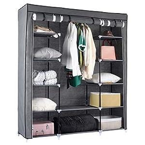 Kleiderschrank Stoffschrank Faltschrank 150 x 175 x 45 cm Kleiderstange 25kg Campingkleiderschrank – mit…