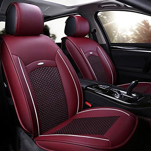 Ledersitzbezug aus Eisseide - Anti-Rutsch-Sitzkissen aus Wildleder mit Universal-Passform für Autositze aus Stoff und Leder,Red