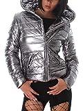 Voyelles Damen Jacke Kapuzenjacke Metallic Glanz Look, Silber, Gr. 36/S (HG: M)
