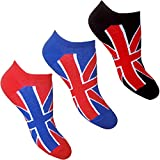 Ladies & Youths Union Jack Great Britain Summer Trainer Socks (3 Pair Pack)