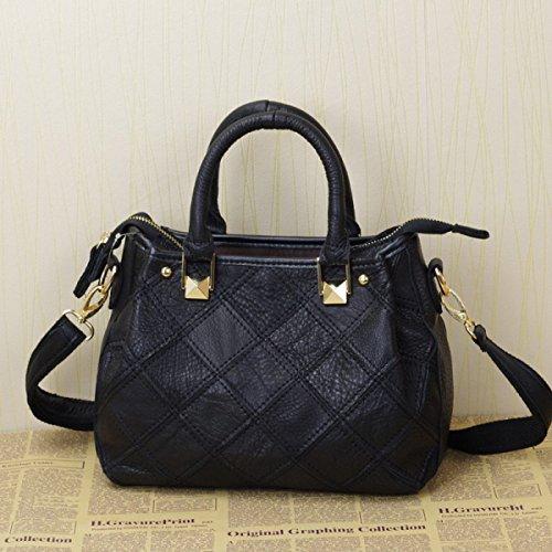 Lederhandtaschen Europäischen Und Amerikanischen Mode Hit Kleine Quadratische Tasche Messenger Bag Handtasche,Black (Schwarz Plaid Messenger Bag)