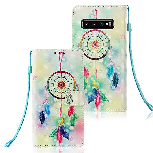 Huphant kompatibel mit Samsung Galaxy S10 Plus Handyhülle Glitzer Leder Hülle Wallet Flip Schutzhülle Tasche mit Samsung Galaxy S10 Plus Kartenfach Geldklammer Ständer Kartenfächer Magnet -Windspiele