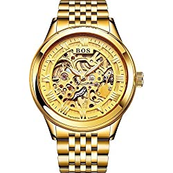 Angela Bos Men's Automatic Self-wind Mechanical Gold Skeleton Dial Wrist Watch Gold Stainless Steel Band