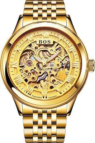 Angela Bos Reloj automático para hombre, esfera dorada, pulsera de acero inoxidable dorada