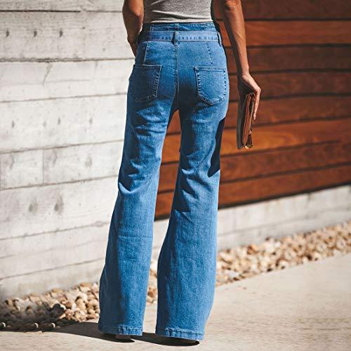 Vertvie Damen Jeans Bootcut Jeanshose Mit Hohem Bund Casual Lange Mode Hose Weite Schlaghosen Retro Stil Denim Hose(Blau, 2XL) -