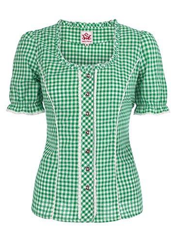 Spieth & Wensky - Karierte Damen Trachten Bluse in verschiedenen Farben, Petra (009791-0115), Größe:36;Farbe:Grün/Weiß (2544)