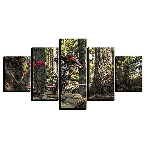 Loiazh - Bilder Vlies Leinwandbild 5 Teilig Kunstdruck modern Wandbilder Wanddekoration Design Wand Bild - Frameless - Mountainbike-Rennen 55x22 45x20x2 35x20x2(cm)