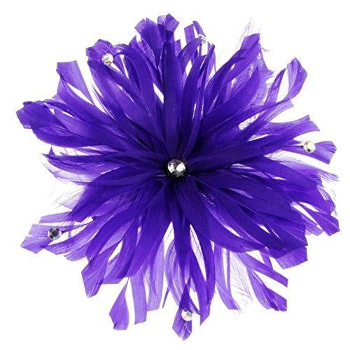 Lima décoré Bibi avec plumes sur peigne en violet (e7208pur)