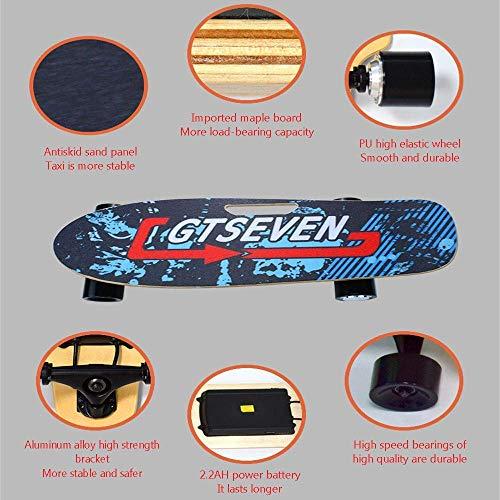 Wanju Outdoor-Sportausrüstung 150 W elektrisches Skateboard für Kinder und Erwachsene, drahtloses ferngesteuertes E-Skateboard mit Hub-Motor, tragbares Cruiser-Skateboard, 18 km/h Höchstgeschwindig -