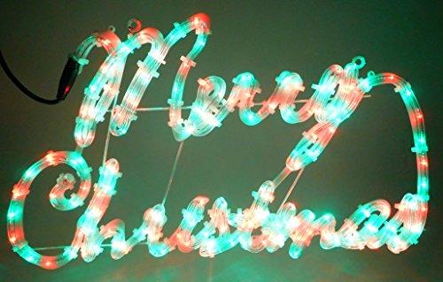 hnachten Zeichen mit Rot / Grün LED-Leuchten mit 8 Function Controller 72cm x 42cm (Frohe Zeichen)