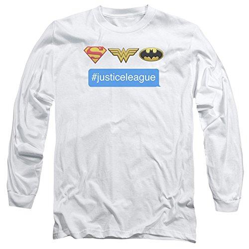 Mens Hashtag Jla-Dc-Maglietta a maniche lunghe Bianco