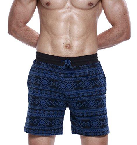 Honeystore Herren Badeshorts Badehose Schwimmhose Schwimmshorts mit Bindeschnur und Taschen, aus hochwertigem Material Blau
