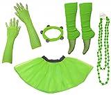 A-Express Frauen kostüm 80er Jahre Neon Tutu Beinstulpen Fischnetz Handschuhe Tüllrock Karneval Tüll Damen Fluo Ballett Verkleidung Party Tutu Rock Kostüm Set (46-54, Grün)