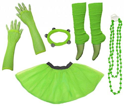 tüm 80er Jahre Neon Tutu Beinstulpen Fischnetz Handschuhe Tüllrock Karneval Tüll Damen Fluo Ballett Verkleidung Party Tutu Rock Kostüm Set (36-44, Grün) ()