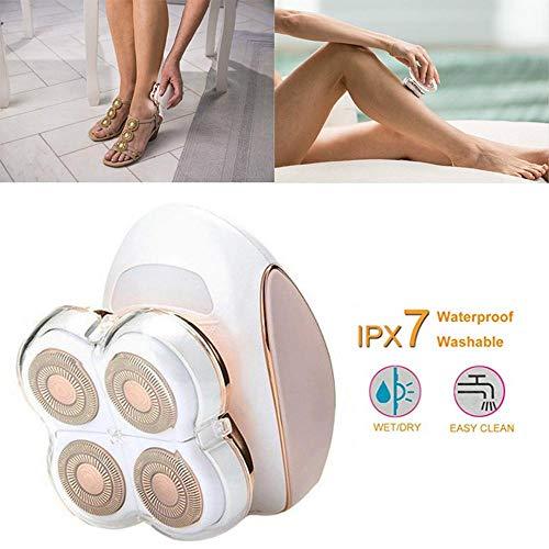 Elektrische Rasierer für Frauen, 4-Köpfe Haar Rasierer schmerzlosen Bikini Trimmer, wasserdichte wiederaufladbare Haarentferner für Gesicht, Körper, Bein und Unterarme