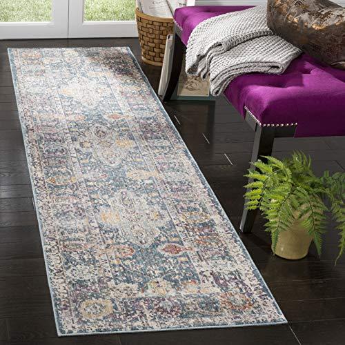 Safavieh Modische Teppich, ILL704, Gewebter Viskose Läufer, Blaugrün / Creme, 62 x 240 cm - Safavieh Transitional Teppiche