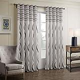 GWELL Elegant Streifen Vorhang Blickdicht Schal mit Ösen TOP QUALITÄT Gardine für Wohnzimmer Schlafzimmer grau 1er-Pack