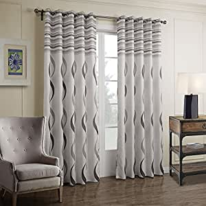 Gwell Striped Thermal Insulated Eyelet Ring Top Curtain