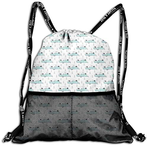 83341a9b1e72 Uosliks Trailer Vintage On White Durable Sport Drawstring Backpack For  School Soccer Yoga