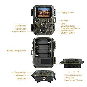 FLAGPOWER Wildlife Camera, Mini Trail Wildlife Camera Infrared Night Vision,Game & Hunting Camera 12MP 1080P, 2.0 inch LCD Screen,IP66 Waterproof Trail Camera Free 32GB SD Card