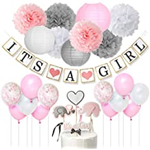 JOYMEMO Es una niña Decoraciones de Baby Shower con Globos Rosados y Grises Linterna