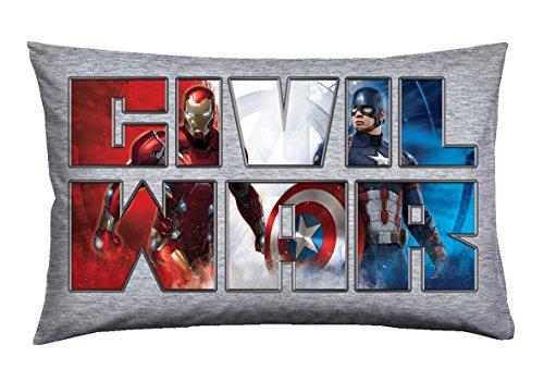 T & F 8051511301324Almohada Individual Marvel-Capitan America, 100% Algodón, Multicolor, 80x 50x 0.5cm