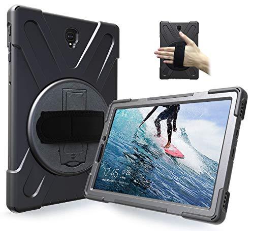Handschlaufenkoffer für robuste, robuste Samsung Galaxy Tab S4 10.5 Inch (2018) SM T830 / T835 / T837 -Stoßfest-Hybrid-Silikonhülle mit 360 drehbarem Fußstand und Schulter-Hals-Trageband Lanyard Black