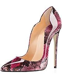 EDEFS Scarpe col Tacco Donna Classico Ritaglio High Heels Chiuse Davanti  Scarpa d22e7f462bd