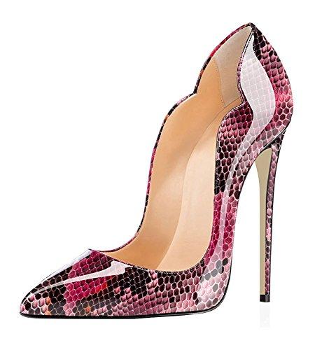 EDEFS Damen Slip-on Pumps Spitze Zehen Sexy High Heels Übergröße Schuhe Python-red EU36 Sexy Red Patent Schuhe