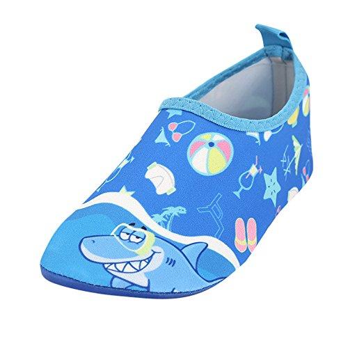 TianWlio Badeschuhe Strandschuhe Wasserschuhe Aquaschuhe Schwimmschuhe Surfschuhe Kind Baby Jungen und Mädchen Sea Shark Strand Schnorchel Socken Schwimmen Tauchen Kinderschuhe Blau 24-25