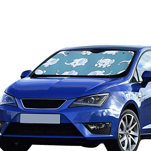 Parabrisas pequeño Sombrilla Sombra Azul Elefante Nariz Larga Visera Solar Ajuste Universal Mantener el vehículo vehículo Refresco de Calor sedán Camión Todoterreno 55'x30 Sombra de la Ventana SUV