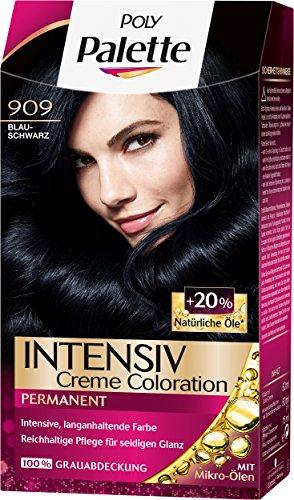 Palette Intensiv Creme Coloration 909 Blauschwarz Stufe 3, 3er Pack (3 x 115 ml)