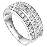 925 Sterling Silver Half Eternity Created Diamonds Ladies Wedding Engagement Band Ring N