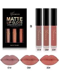 Ularma 3pcs Nouveau Mode Matte imperméable Rouge à lèvres liquide Cosmétiques Kit sexy Lip Gloss B