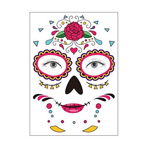 Fat mashroom 1pcs decorazione di halloween maschera di halloween adesivo per tatuaggio temporaneo impermeabile giorno messicano dellamaschera da teschio di zucchero festa per il trucco, 2